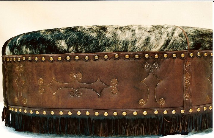 Two Fools Leather Goods, custom ottoman, hair on hide, large round with fringe 3