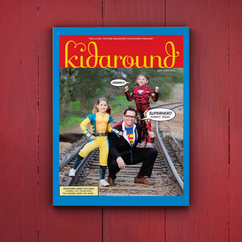 Editorial Design for Kidaround Magazine Superhero Cover