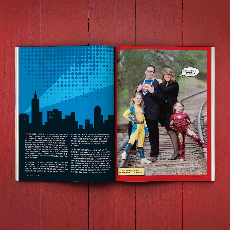 Editorial Design for Kidaround Magazine Superhero Spread