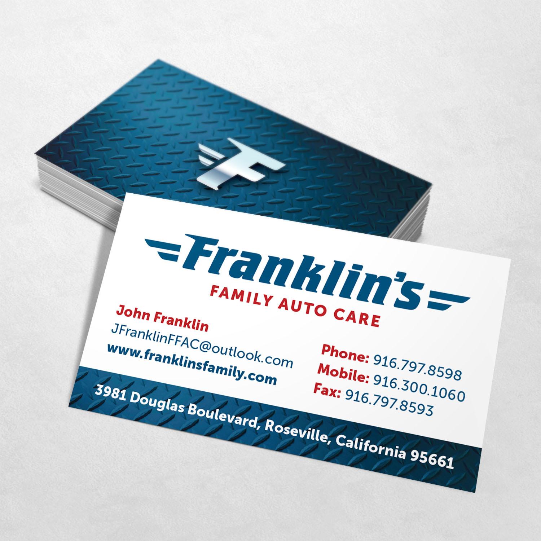 Franklin's Family Auto Care Business Card Design
