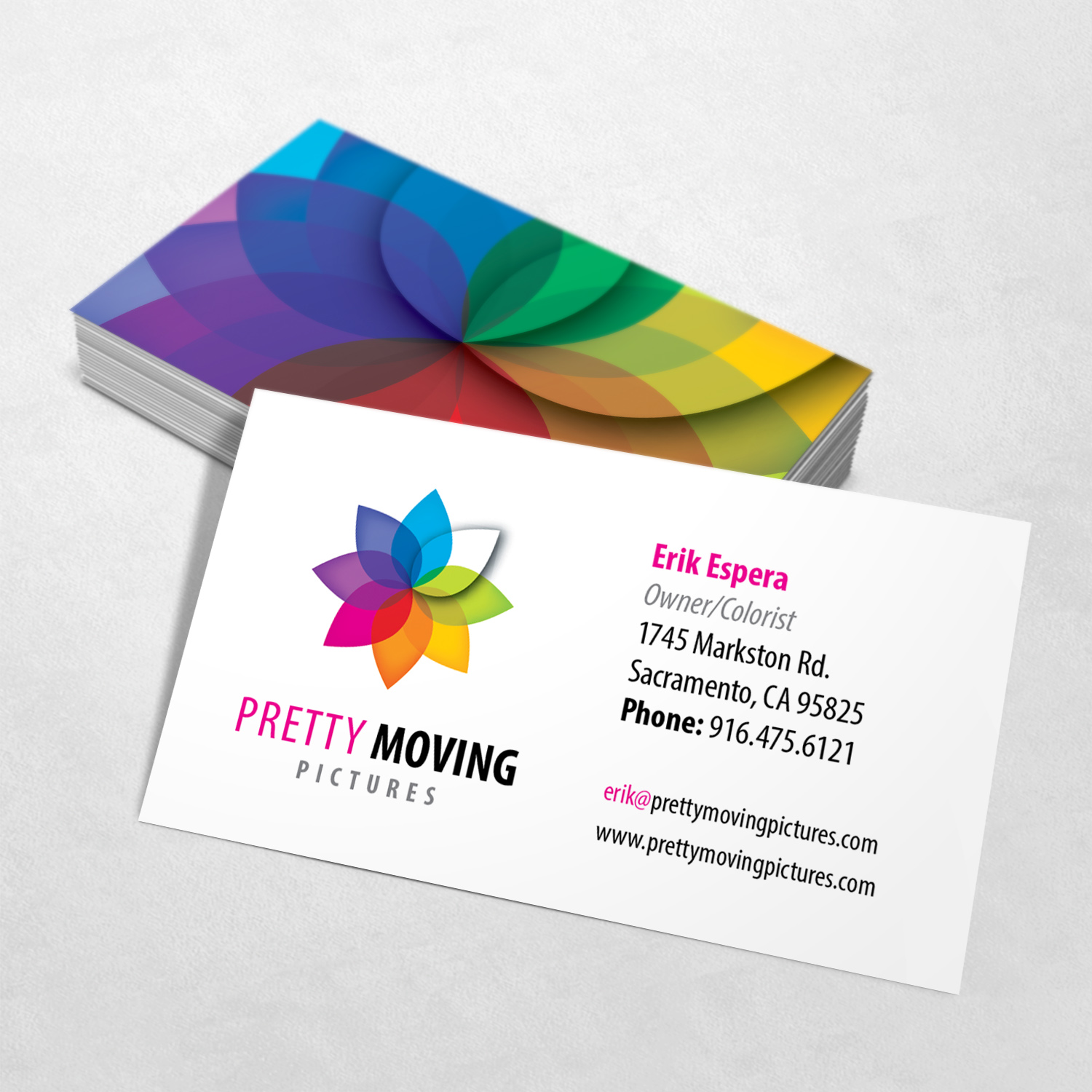 Pretty Moving Pictures Business Card Design