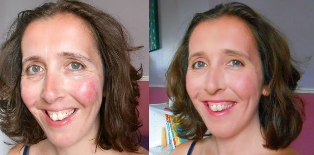 """ With my remaining rosy rosacea skin (slowly getting much better since giving up grains & moisturising), Universal Harmony gave me great coverage but not to the point of blocking my pores. I felt like my skin could breathe and on the very, very rare occasion I may forget to remove make-up this would not be a major problem.   Would I choose Urban Minerals over other brands?  Yes I would. The coverage was far better than other brands I have tried and far lighter too. No cakiness even on freshly moisturised or oily skin."""