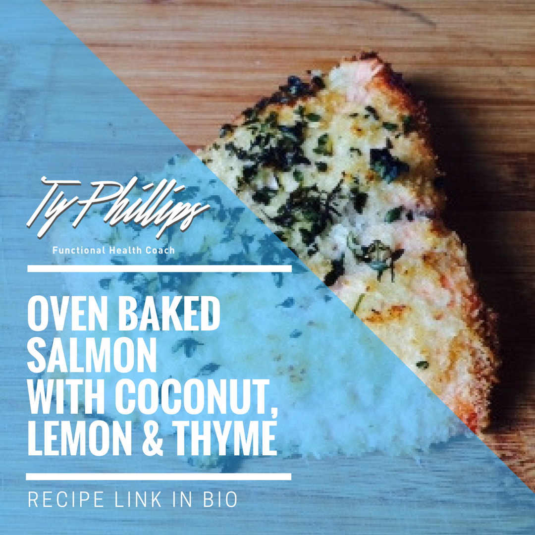 Baked atlantic salmon with coconut, lemon and thyme