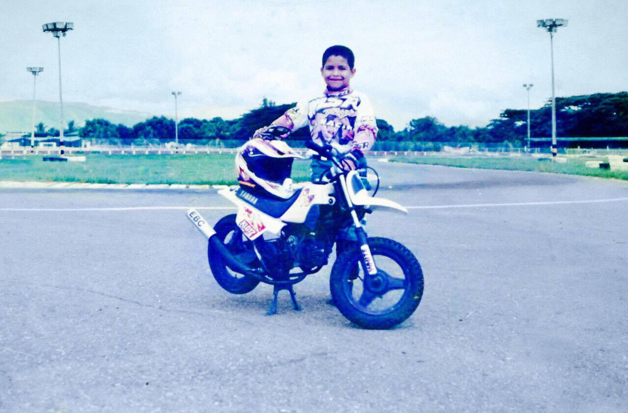 My little brother, Eduardo, on his Yamaha PeeWee (which he let me ride sometimes).
