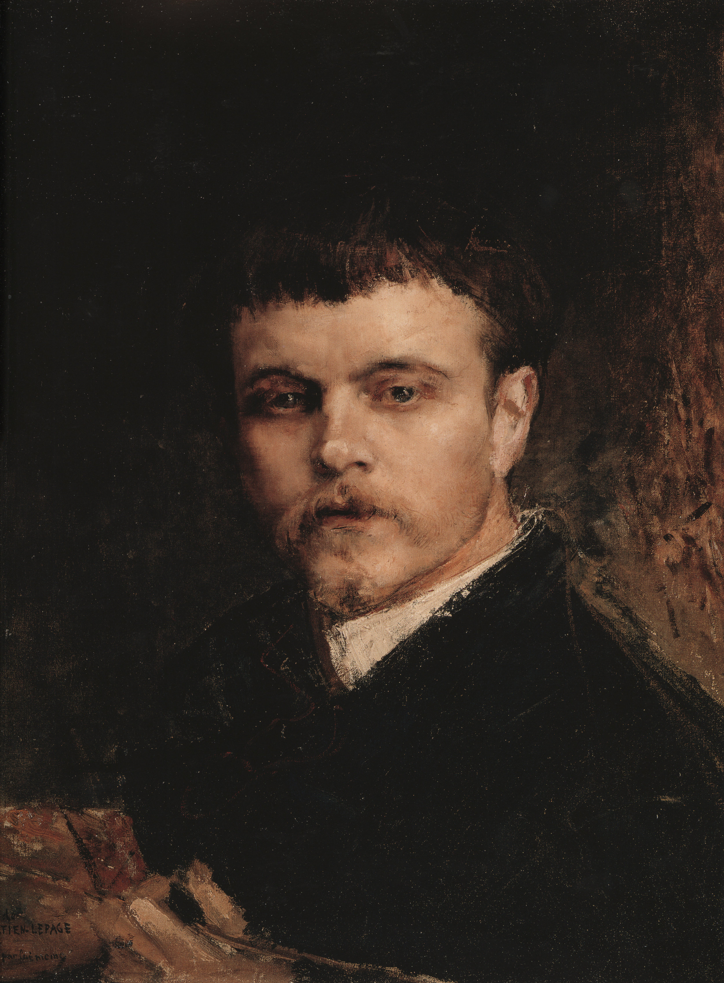Traces of redrawing can be seen around the mouth and eyebrow and collar in this self-portrait (Step 3). The ear and hand retain the clear and bold modeling of step 2.