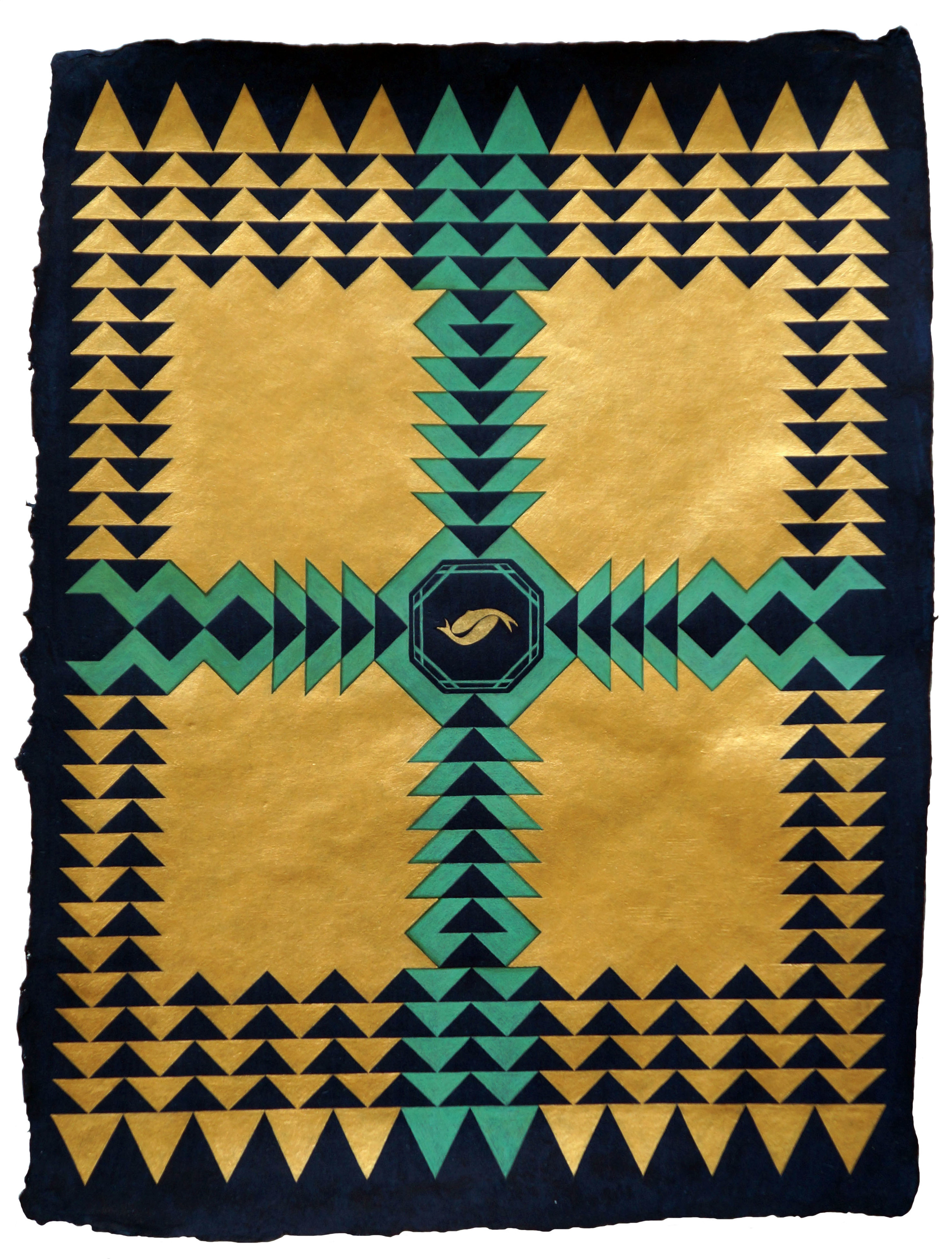 Khizrnama (Fountain) , 2013  24-karat gold, malachite and acrylic on handmade indigo wasli paper  17 x 13 inches