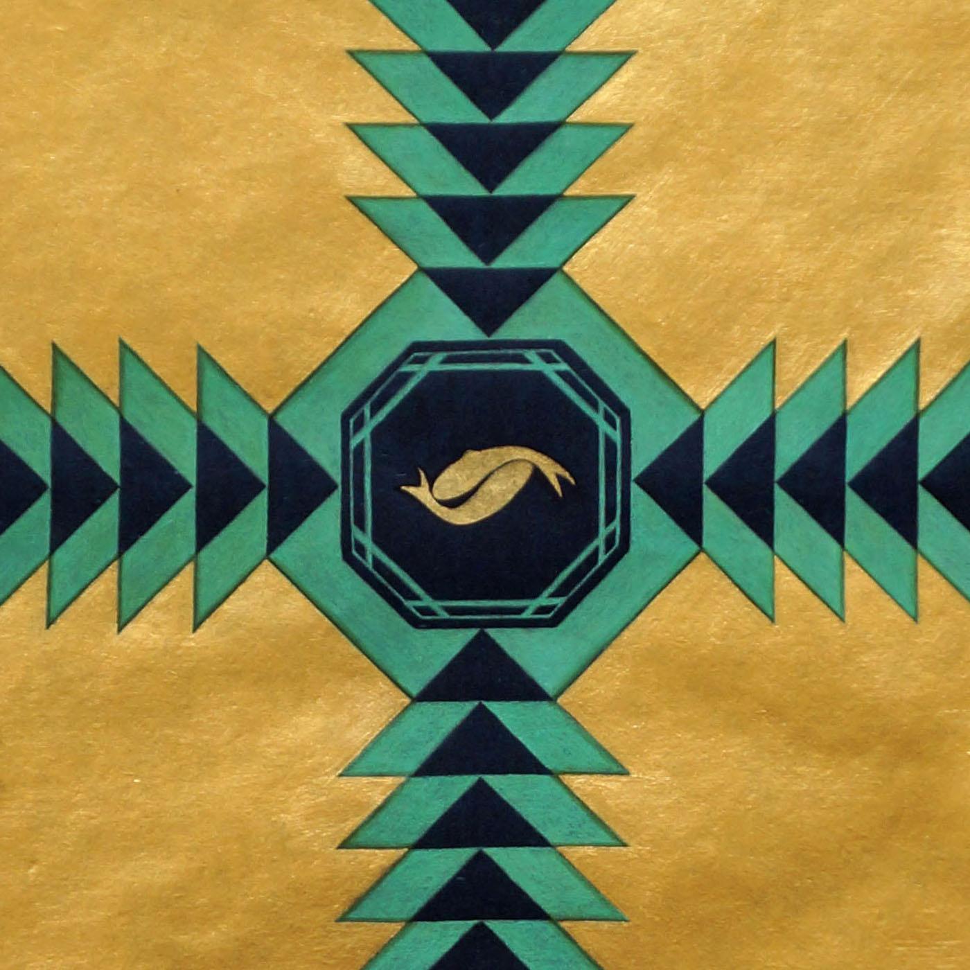 Khizrnama (Fountain) , 2013  detail  24-karat gold, malachite and acrylic on handmade indigo wasli paper  17 x 13 inches