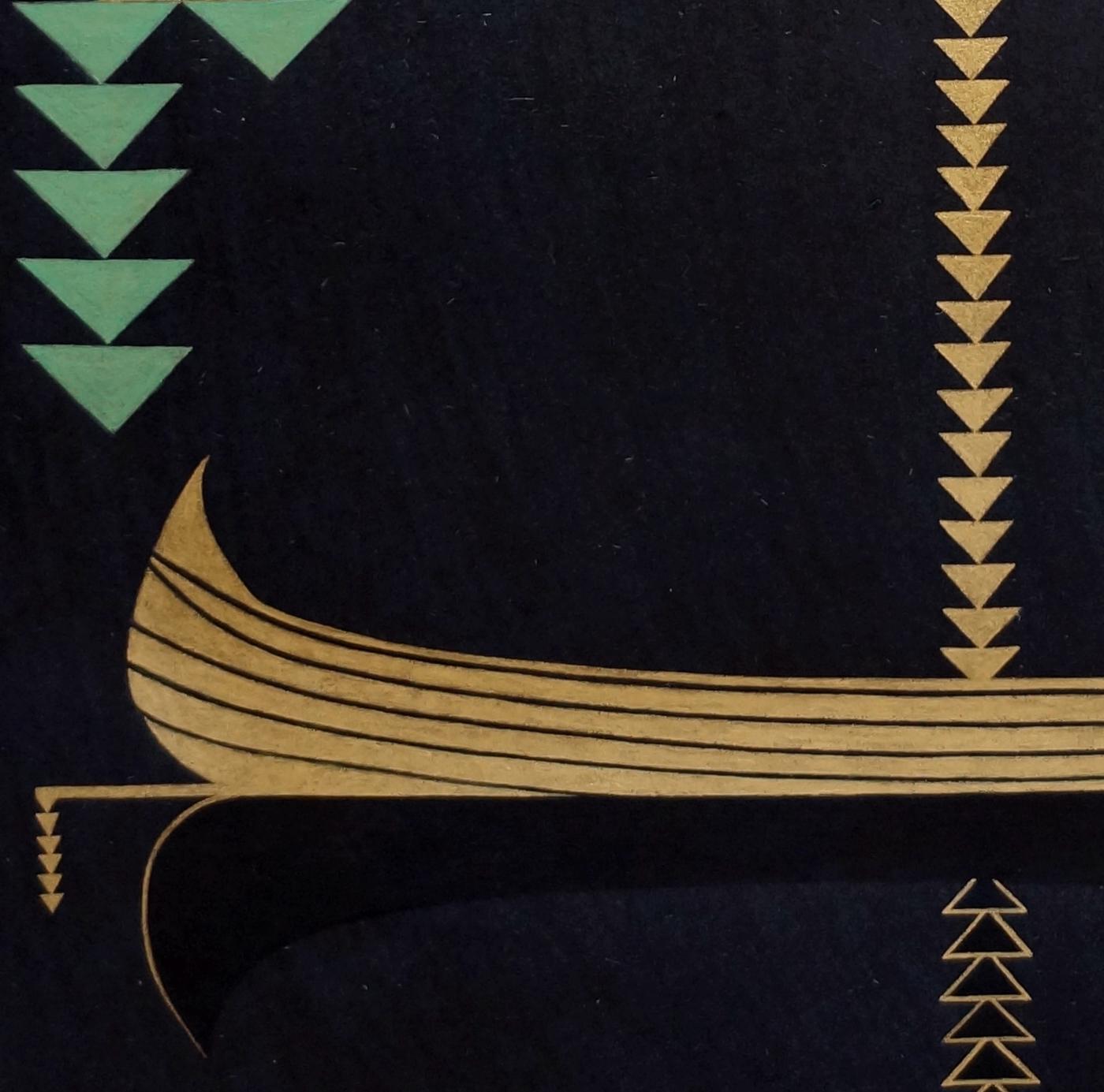 Khizrnama (Bark) , 2013  detail  24-karat gold and malachite on handmade indigo wasli paper  17 x 13 inches