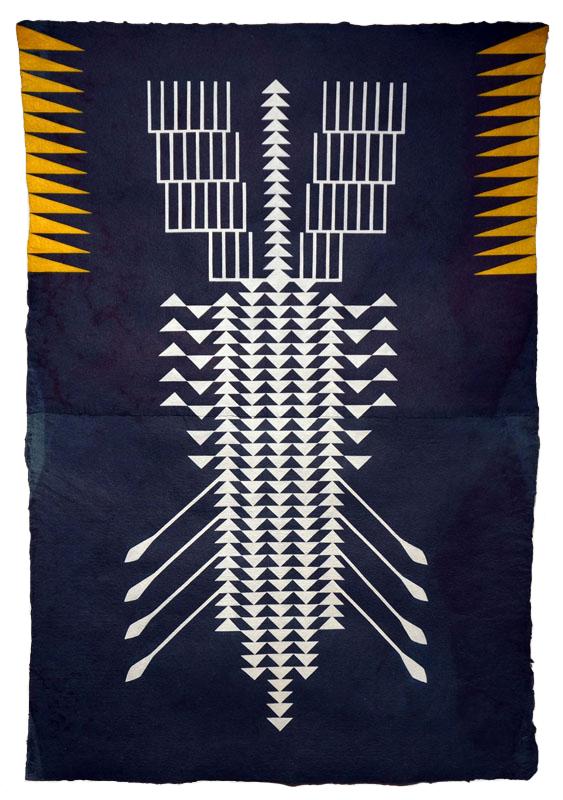 Argo , 2014  Acrylic on handmade indigo paper  40 x 28 inches