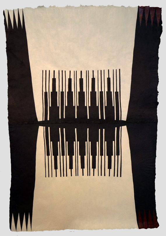 Clashing Rocks , 2014  Acrylic on handmade indigo paper  40 x 28 inches