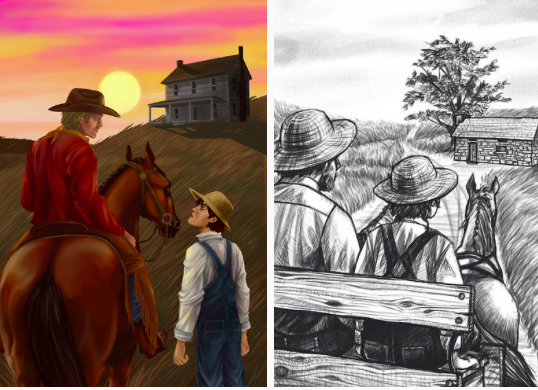 Illustrations by  Sarah Schowengerdt  for novel  Prairie Courage by Alice B. Martin.