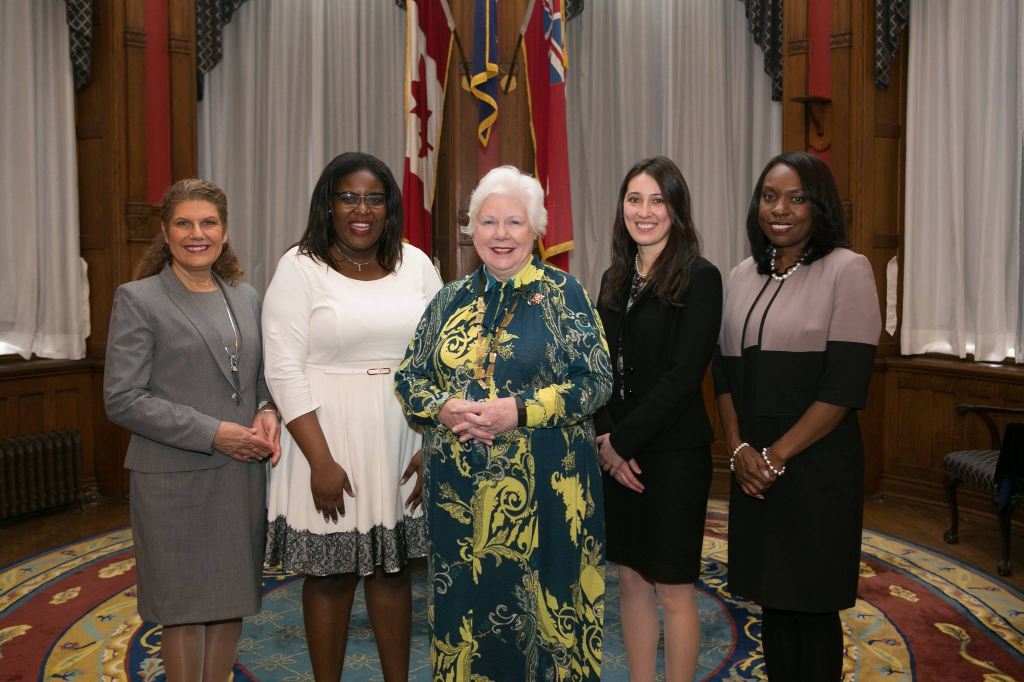 Honourable Laura Albanese, Minister of Citizenship and Immigration, Tia John - Student Recipient, Her Honour the Honourable Elizabeth Dowdeswell, Alexis Spieldenner (Co-Founder of Bravo Niagara!), and Honourable Mitzie Hunter, Minister of Education.