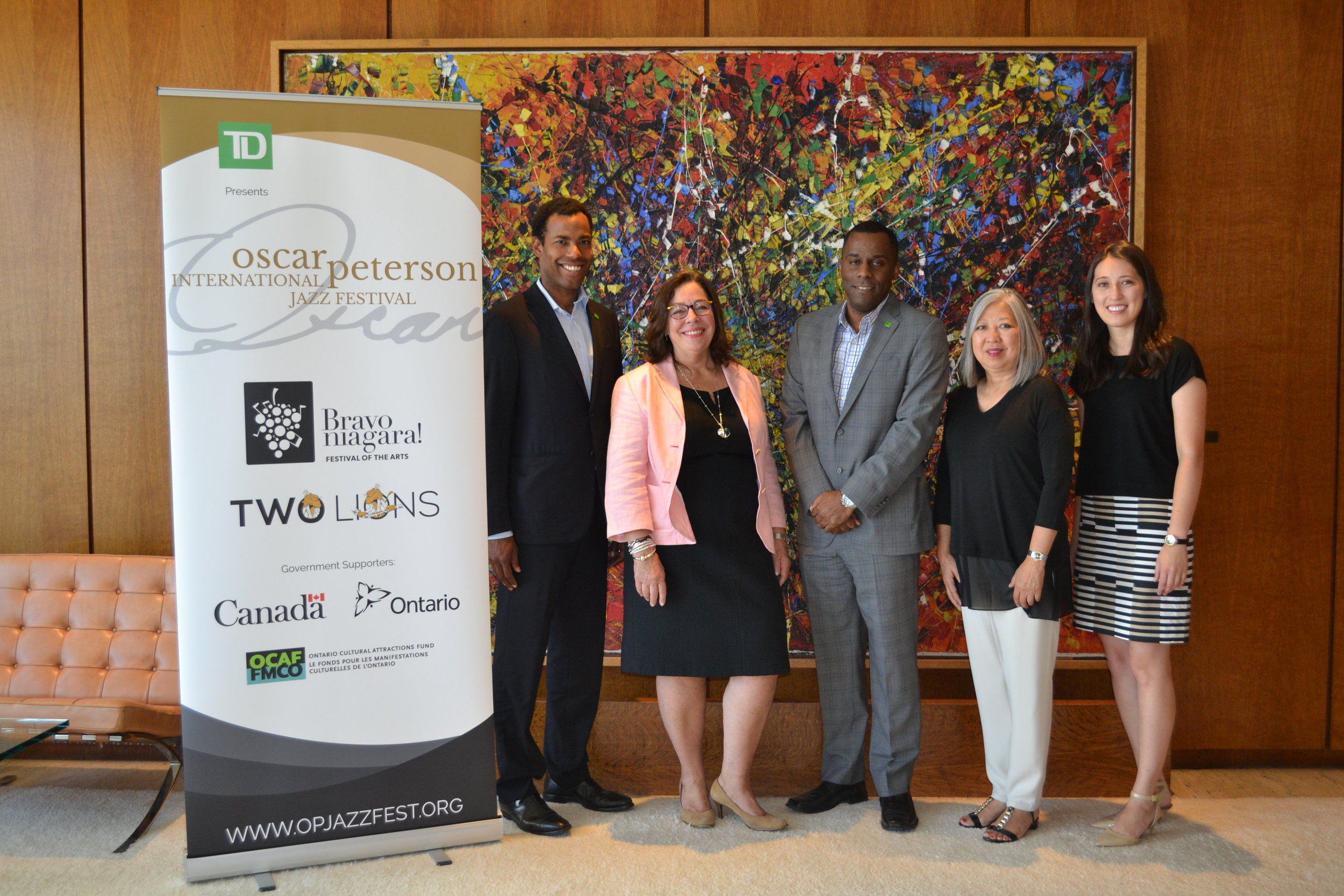 Pictured at TD Bank Tower L-R: Andre Lucas, Manager of Community Relations at TD Bank Group, Artistic Producer Kelly Peterson, Peter Robinson, Associate Vice President of Wealth Credit & Market Risk at TD Bank Group, and Executive Producers Christine Mori and Alexis Spieldenner of Bravo Niagara!