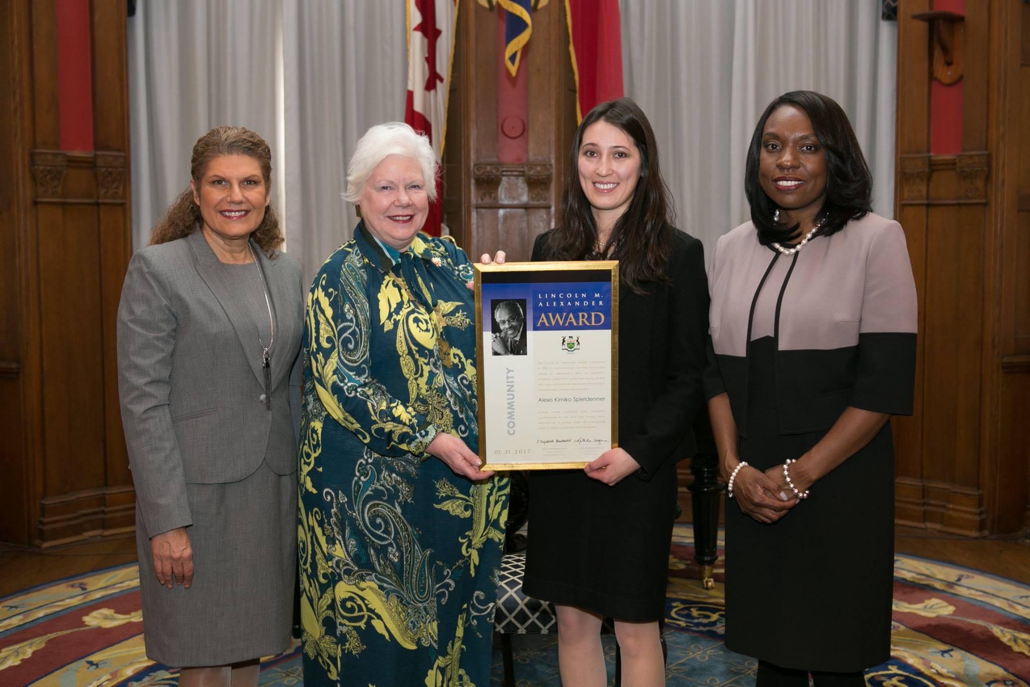 Alexis Spieldenner with Hon. Laura Albanese, Hon. Elizabeth Dowdeswell, Hon. Mitzie Hunter.jpg