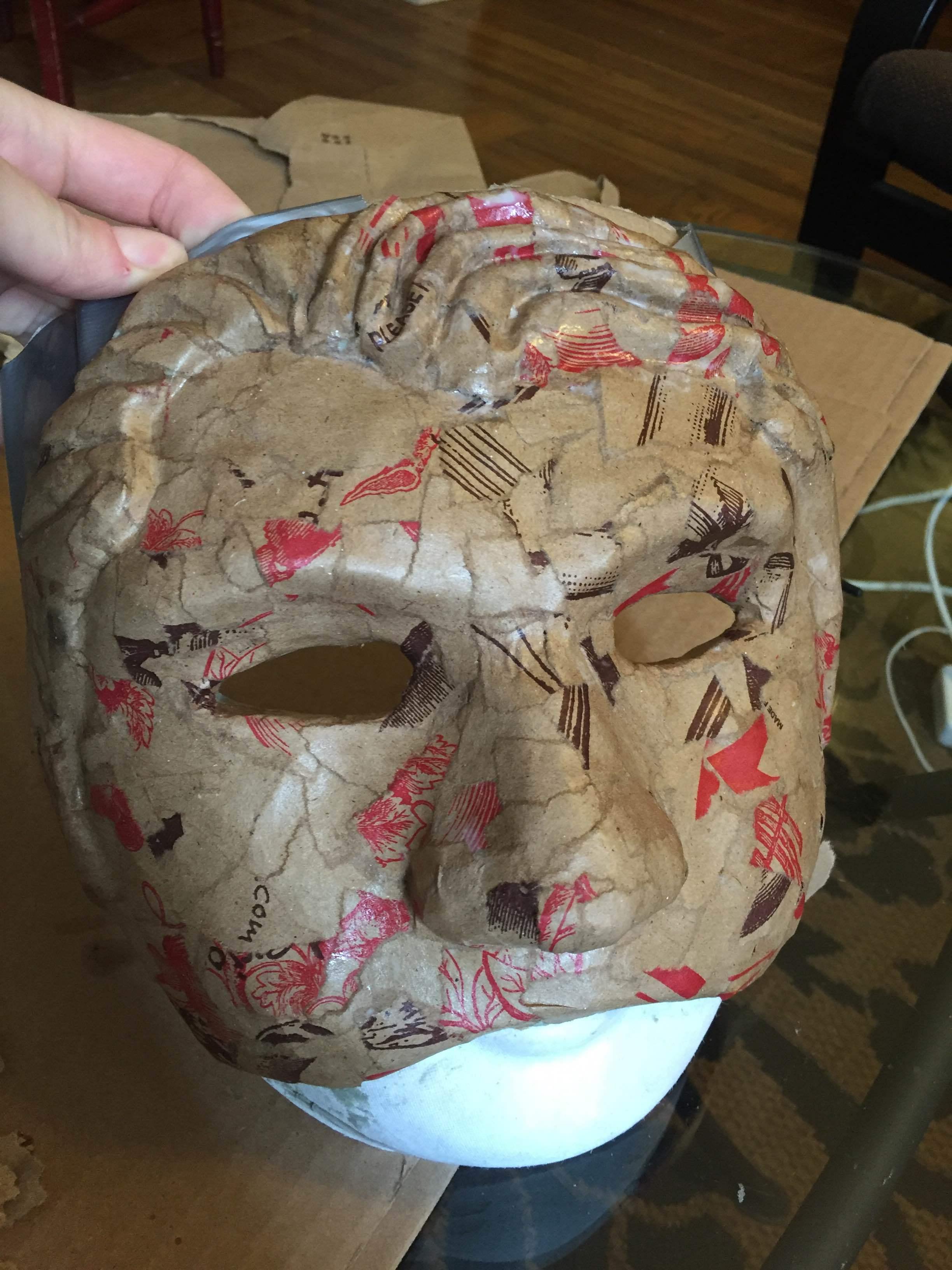 The mask in progress
