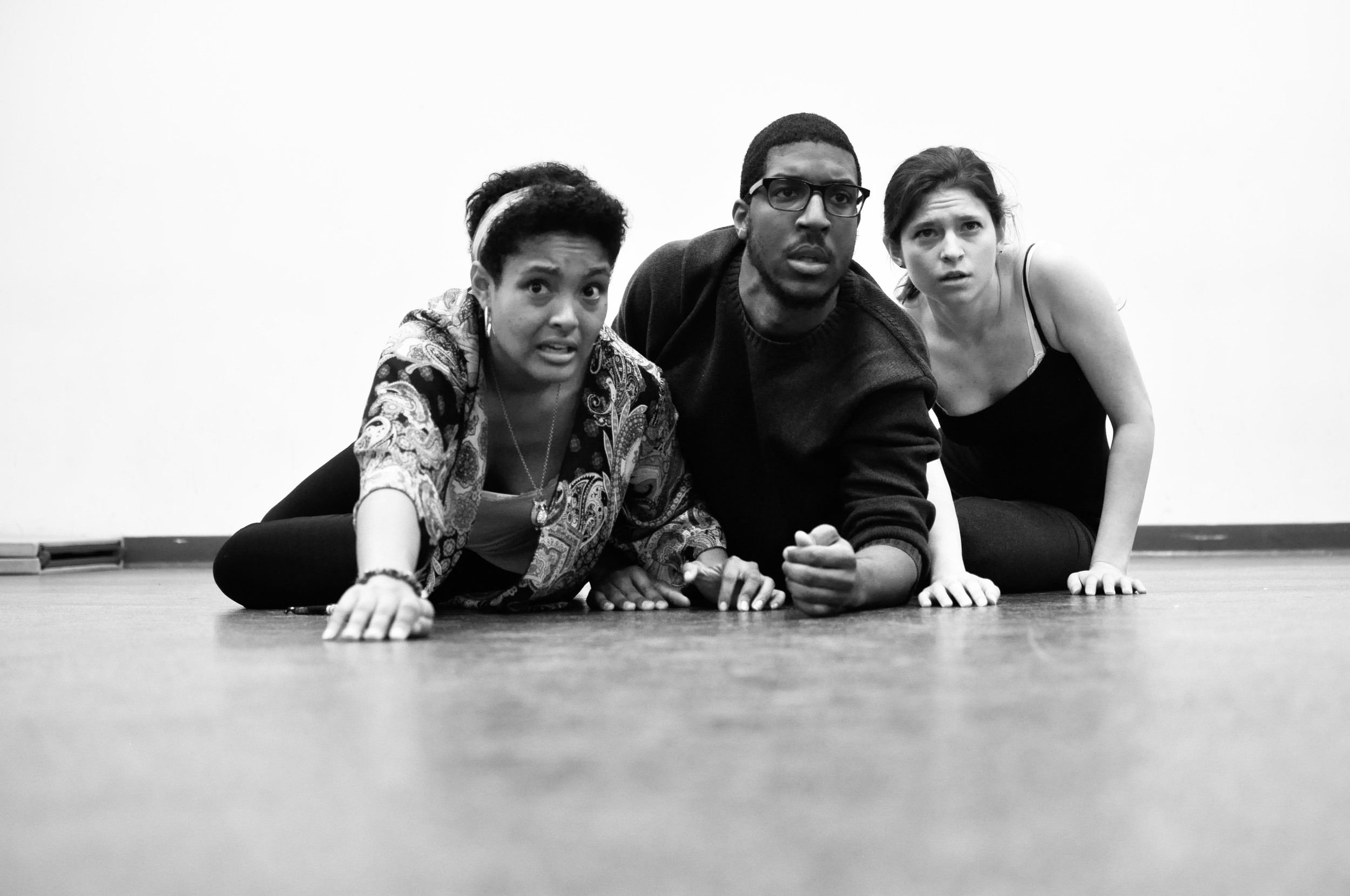 Olivia, Cassagnol, and Emily in Rehearsal
