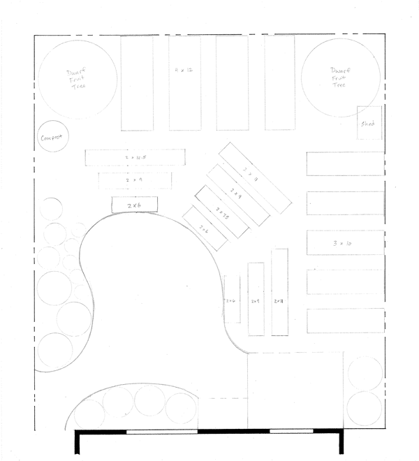 First rough draft with a limited vision. Notice the poorly shaped bed lines, custom size raised beds (expensive!), and awkward layout.