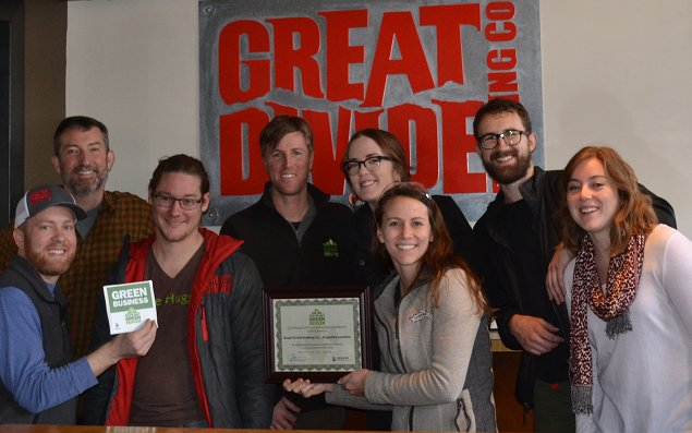 Members of the Great Divide team pose with their newly acquired grant. Photo courtesy of Great Divide Brewing Company