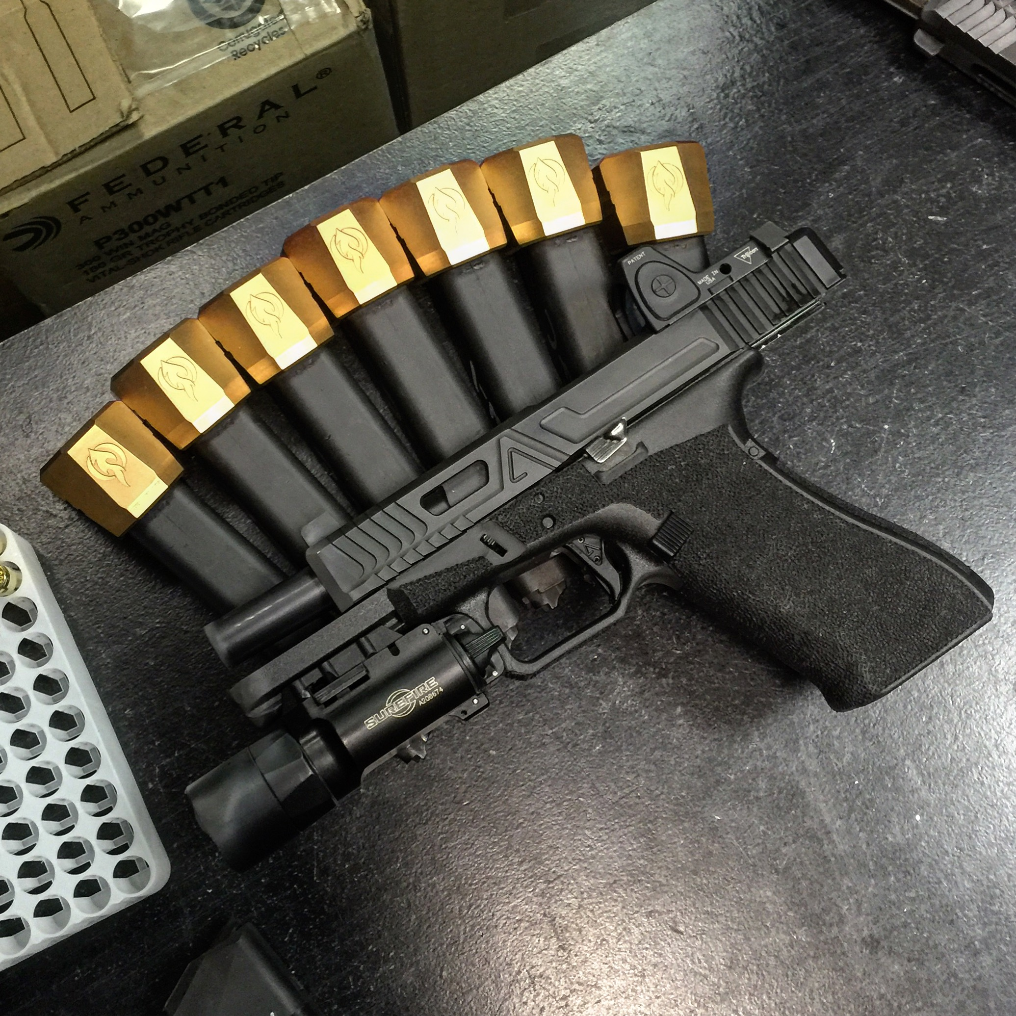 ALL ABOUT THAT BASE   Falkor defense makes some of the sexiest base pads for Glock and M&P magazines. Was a blast going ham on these in vegas.
