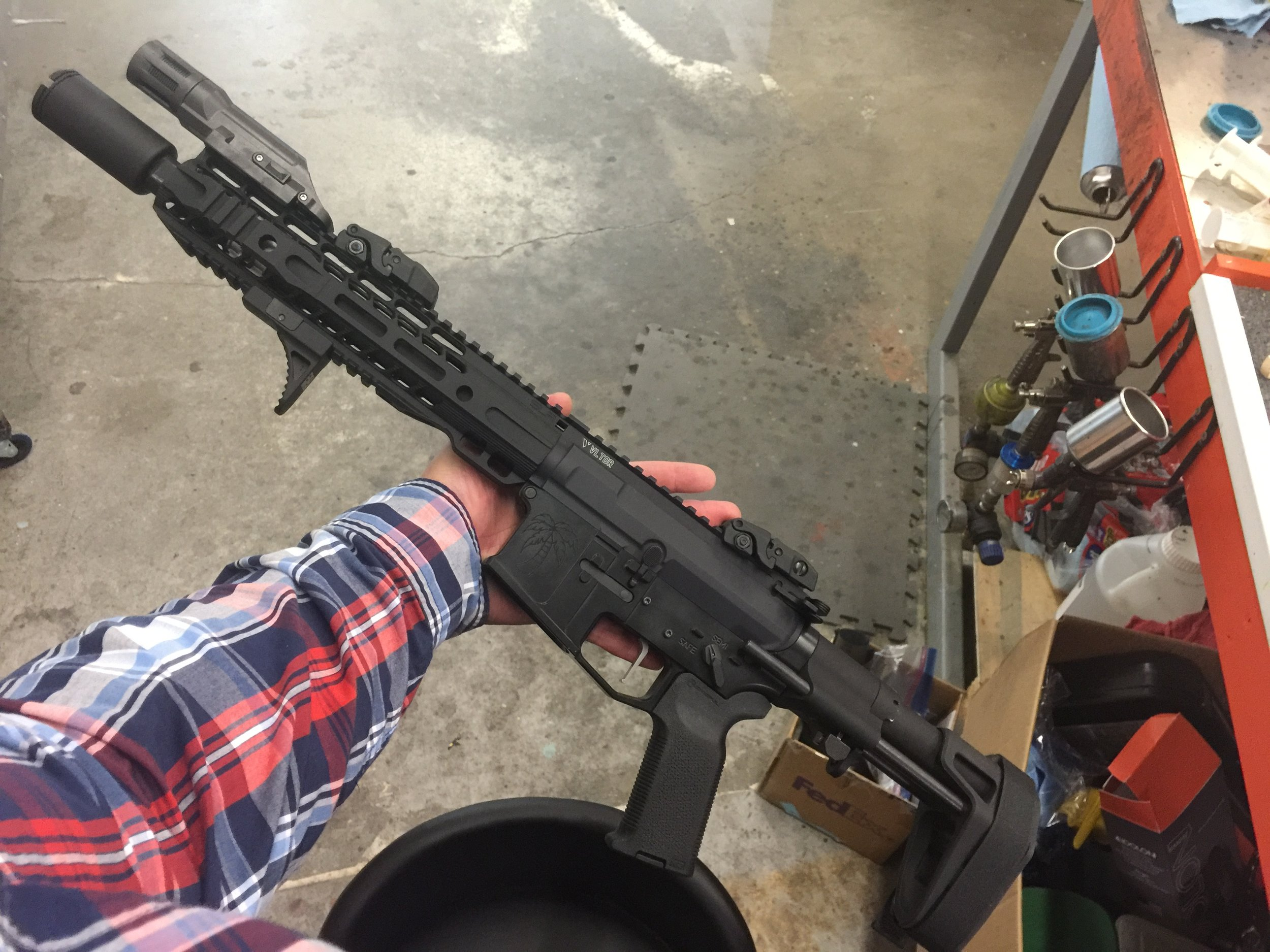 """I THINK WE""""LL CALL HER...   Hell I don't know what to call this sexy beast. Just swung by Republic Rifle to have them piece it together. That SB tactical """"brace"""" is going to see so much shoulder action. And thats the bottom line, cause ATF said so."""