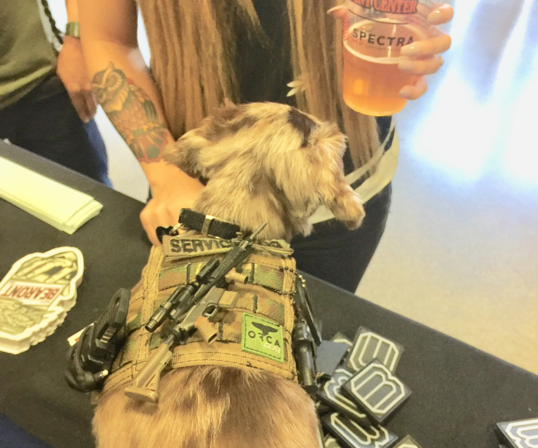 TAZ   Tactical Tax came by the booth today and put paws all over our product but we were stoked to let him run around. He was ready to rock incase something went down.