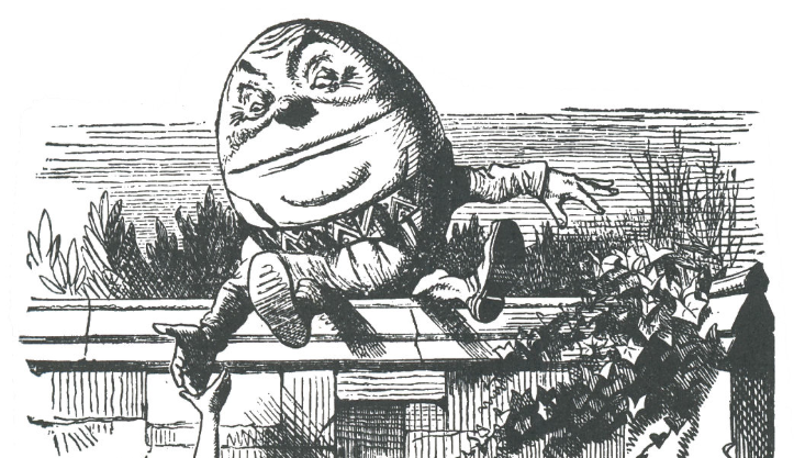 Humpty Dumpty and Alice. From   Through the Looking-Glass  . Illustration by  John Tenniel