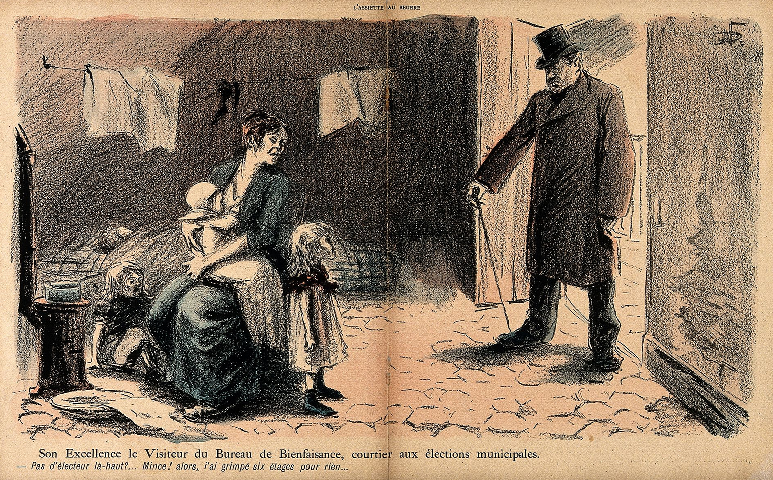 A politician out canvassing curses himself for climbing six floors to the room of amother and her young offspring, none of whom are electorally valuable , byN. Dorville, c.1901. Iconographic Collections