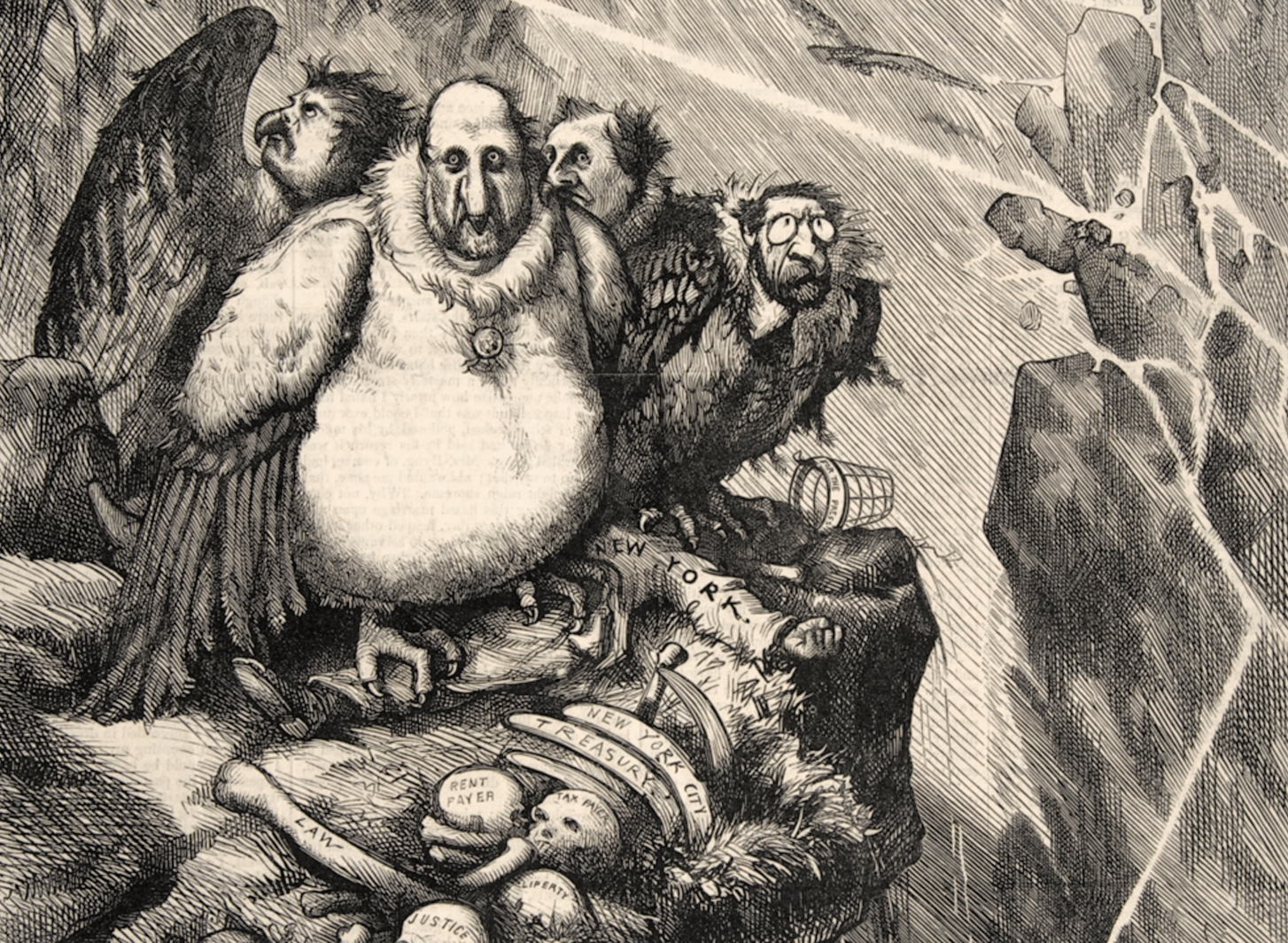 """A Group of Vultures Waiting for the Storm to """"Blow Over""""--""""Let Us Prey""""by Thomas Nast,Wood engraving published in Harper's Weekly newspaper, September 23, 1871"""