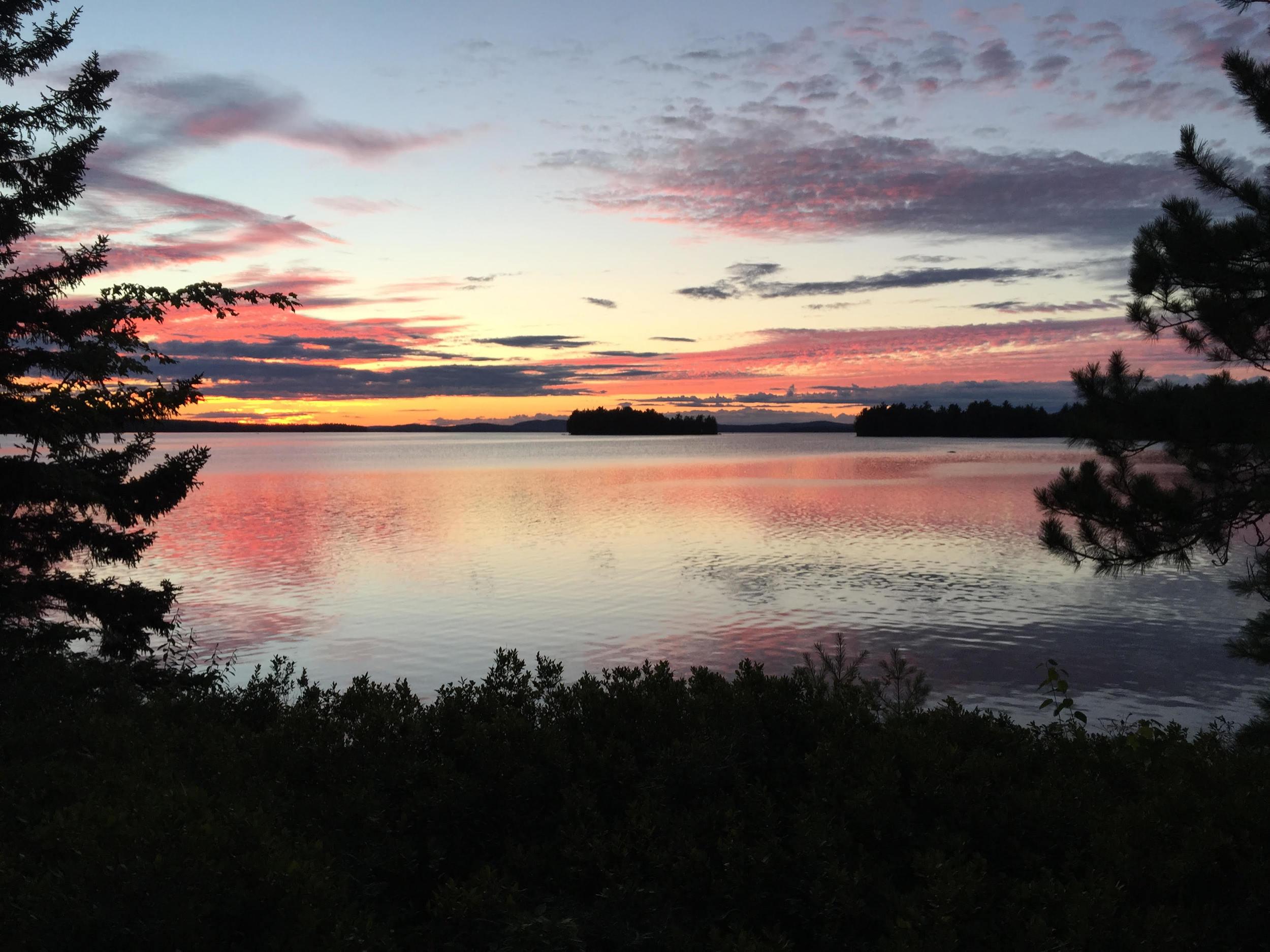 Sunset over Grand Lake Stream, Leen's Lodge, Maine, USA
