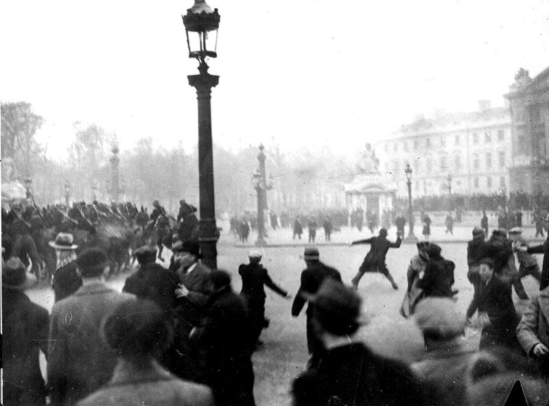 Image via  Wikipedia  - fascists attack police, February 1934, Paris