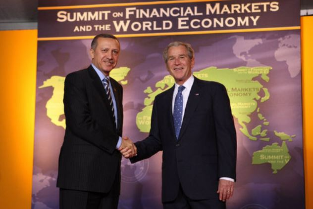 From earlier private debt crisis 10 years ago - President Bush welcomes then Prime Minister Erdogan of Turkey to the G20 Summit on Financial Markets and the World Economy, Nov. 15 2008, Washington D.C.    White House photo by Chris Greenberg.