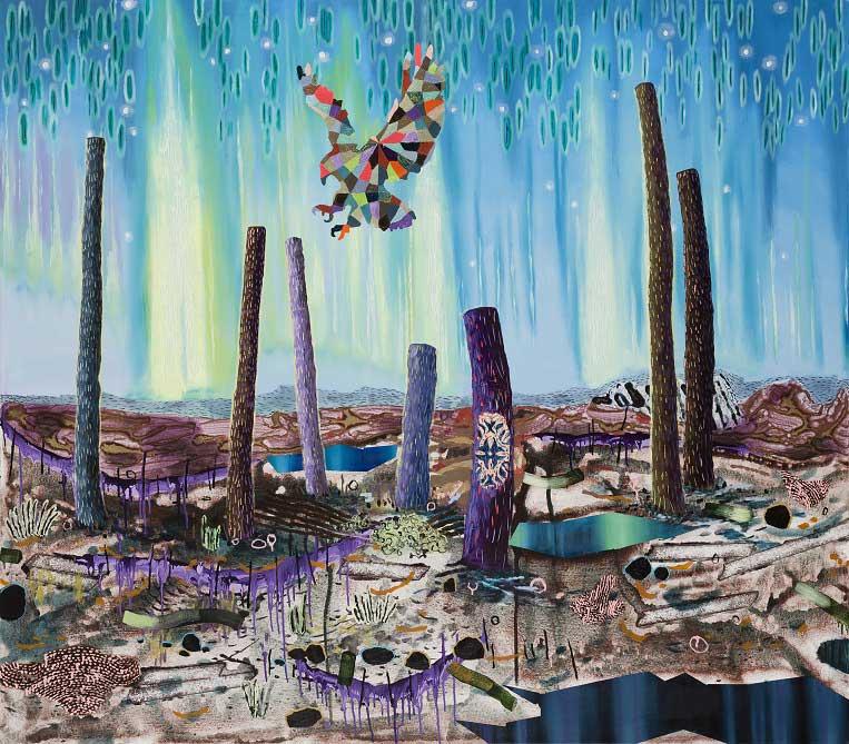 Patchwork Landing, 2015. Oil on canvas, 140 X 160 cm