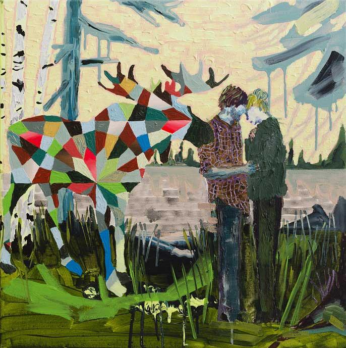 Moose Love, 2014. Oil on canvas, 65 X 65 cm.