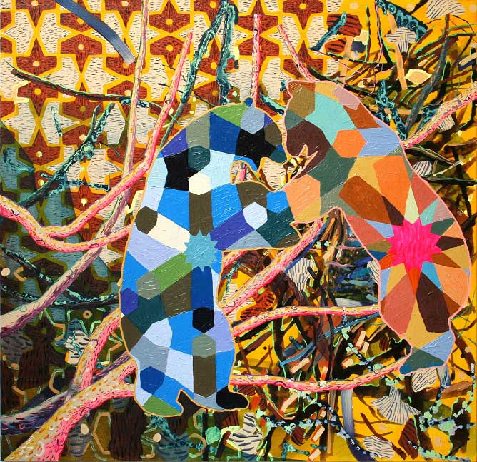 Wrestling Bears, 2015. Oil on canvas, 99 X 101 cm.