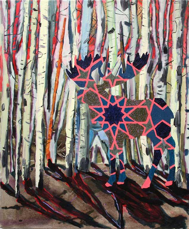 Vanishing Elk, 2014. Oil on canvas, 85 X 70 cm.