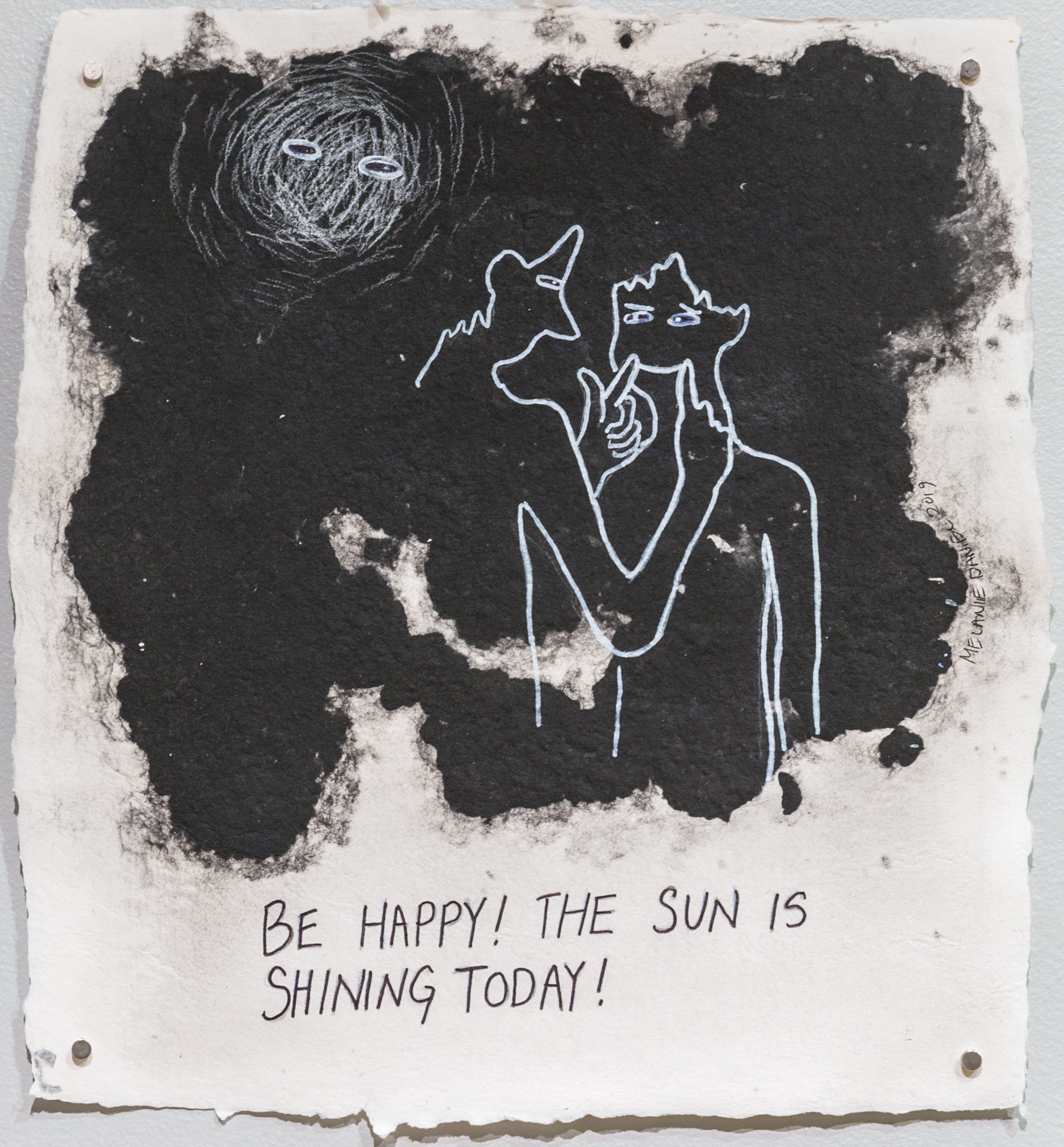 It's Going to be a Beautiful Day, 2019, ink on pigmented pulp, 17 X 16 inches