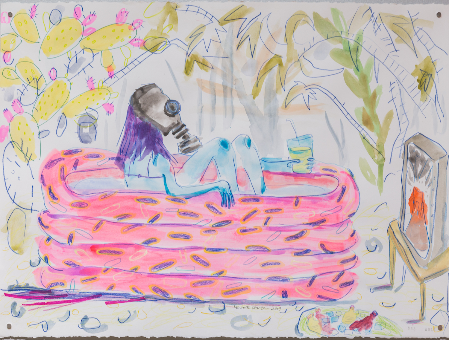 Pool Party, 2019, coloured pencil and ink on paper, 11 X 14 inches