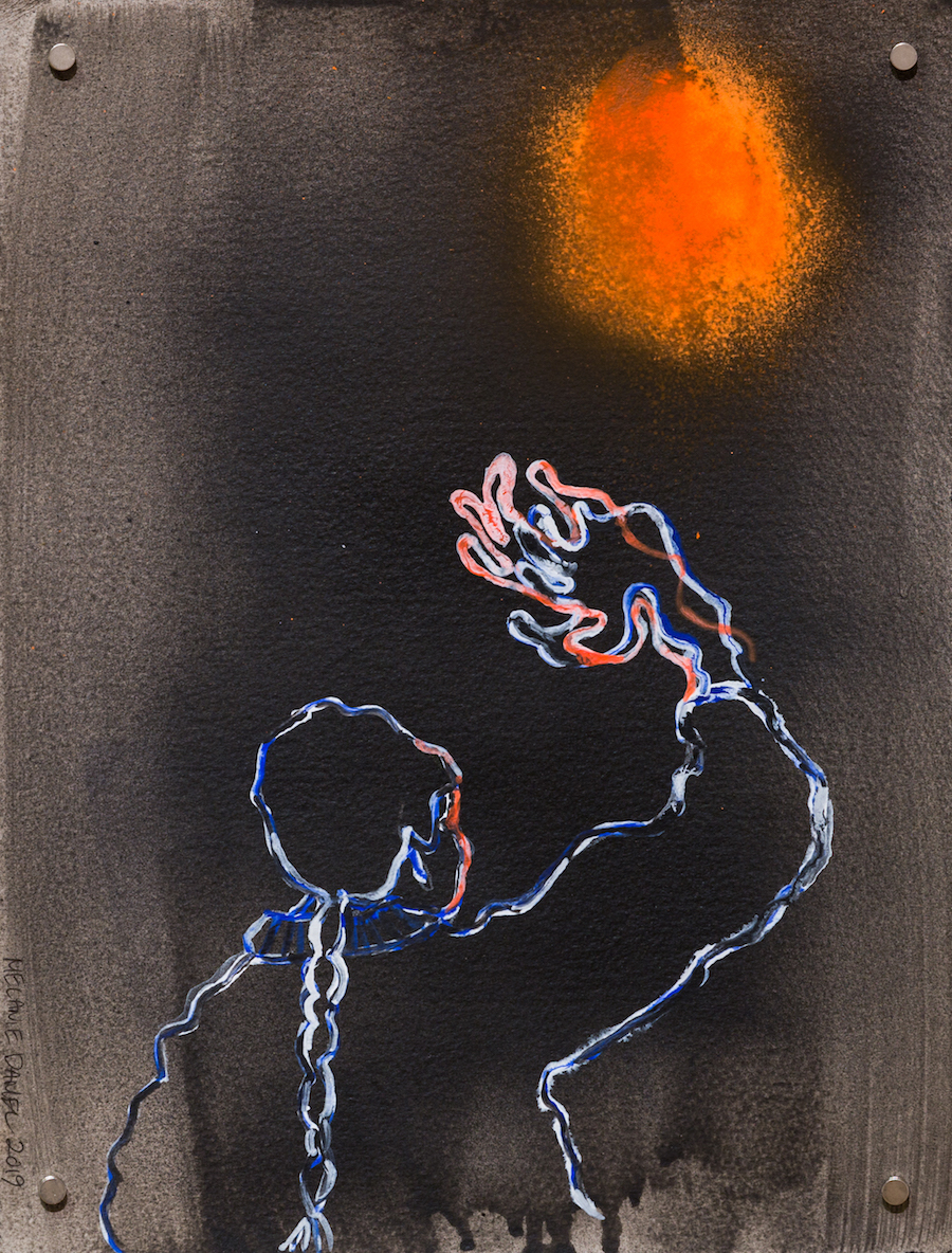 Goodbye Sun, 2019, ink and spray on paper, 15 X 11 inches