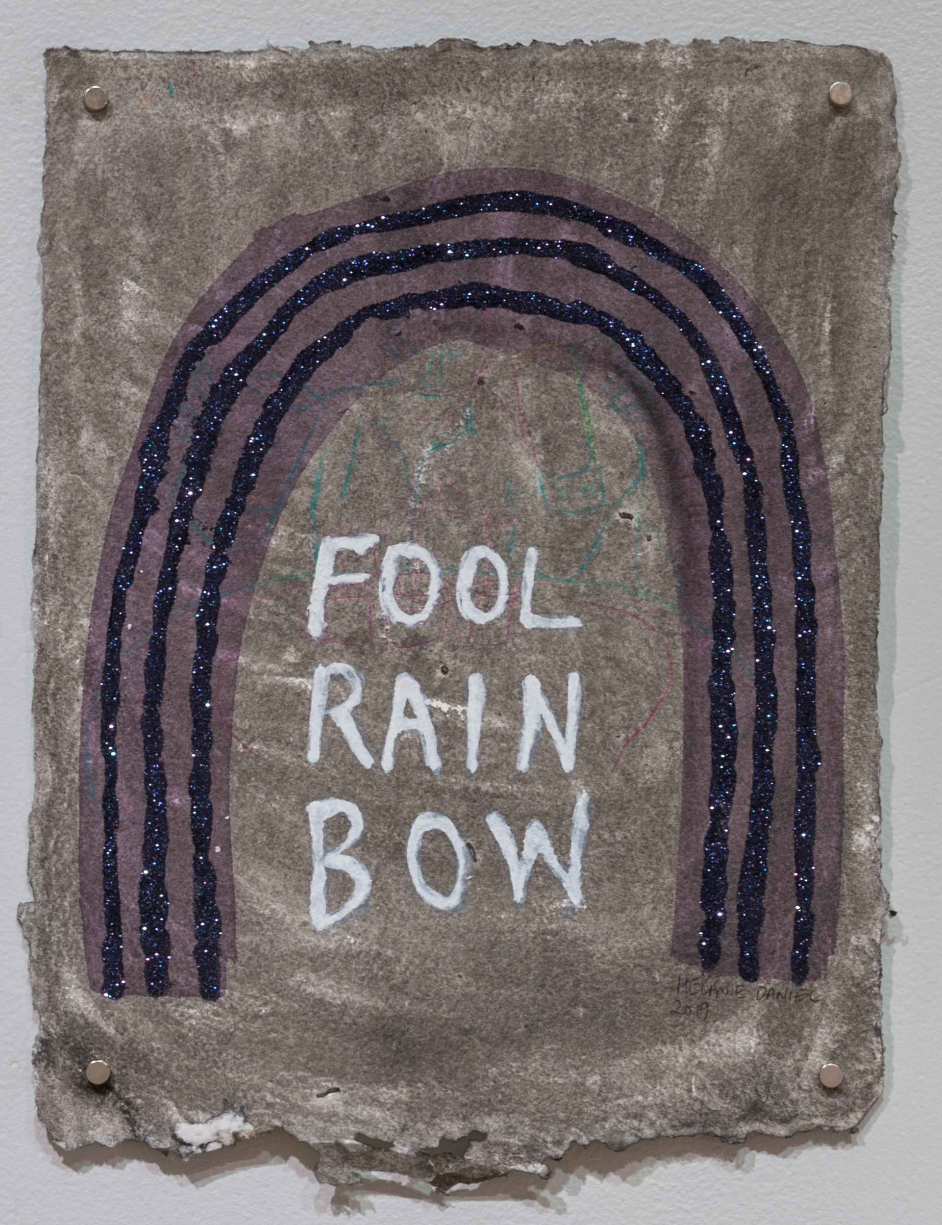 Fool Rainbow, 2019, ink and glitter on handmade paper, 15 X 11 inches