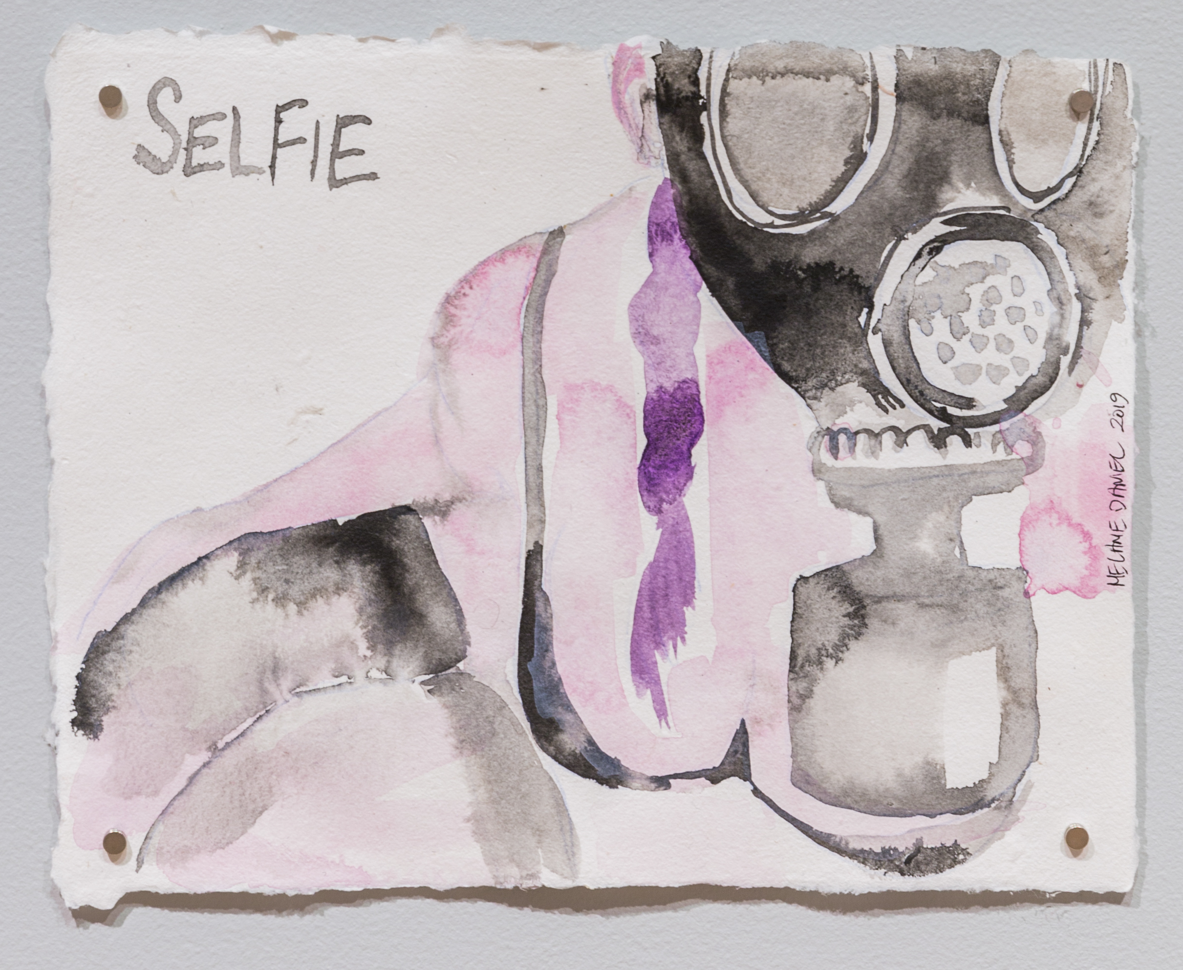 Selfie, 2019, watercolour on handmade paper, 11 X 15 inches.