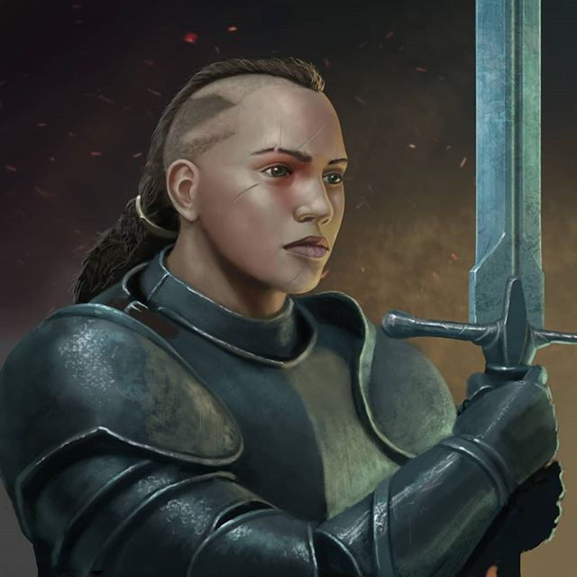 Female human Fighter. ... As well as building a deck of monster cards for 5E, I'm also doing character avatar portraits to enrich players xp. Follow the instagram or sign up to the mailing list at dragonwarchest.com if your keen on more info. #dnd #dungeonsanddragons #dungeonmaster #5e #fighter #platearmor #femalewarrior #monstermanual #rpg #neutralevil #playingcards #monsterdeck #dragons #monster #fantasy #art #fantasyart #wotc @dragonwarchest