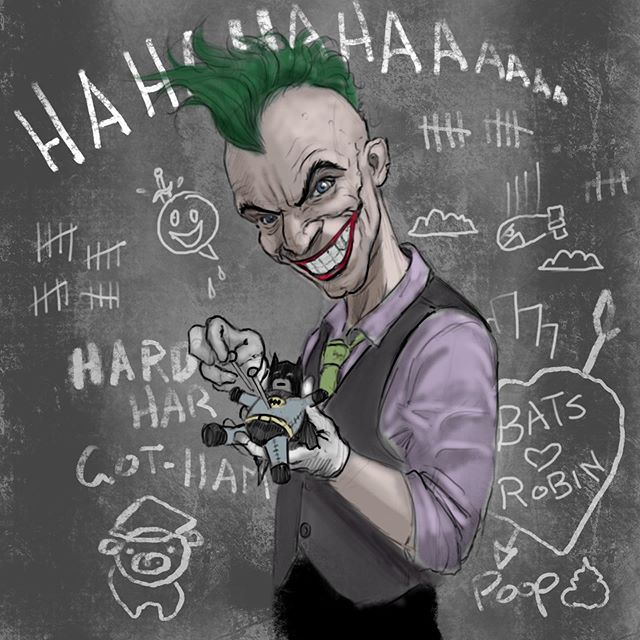 Double tap and follow me for more! Just an after work scribble. Trying to keep things loose and quick. Thought I'd play with jokers hair and proportions a little.. #joker #dcextendeduniverse #dccomicsfan #art #sketch #procreate #illustration  #scribbleart #instaart #batman #gotham #pincushion #fanart