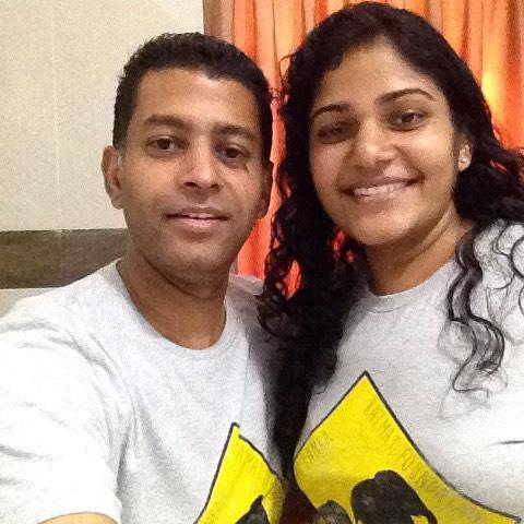 John & Debbie wearing Kalmat T-shirts.