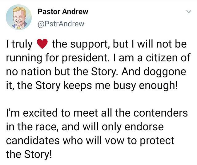 Story first, politics...never! The only politics are the Story! Thank you, Pastor Andrew!!!