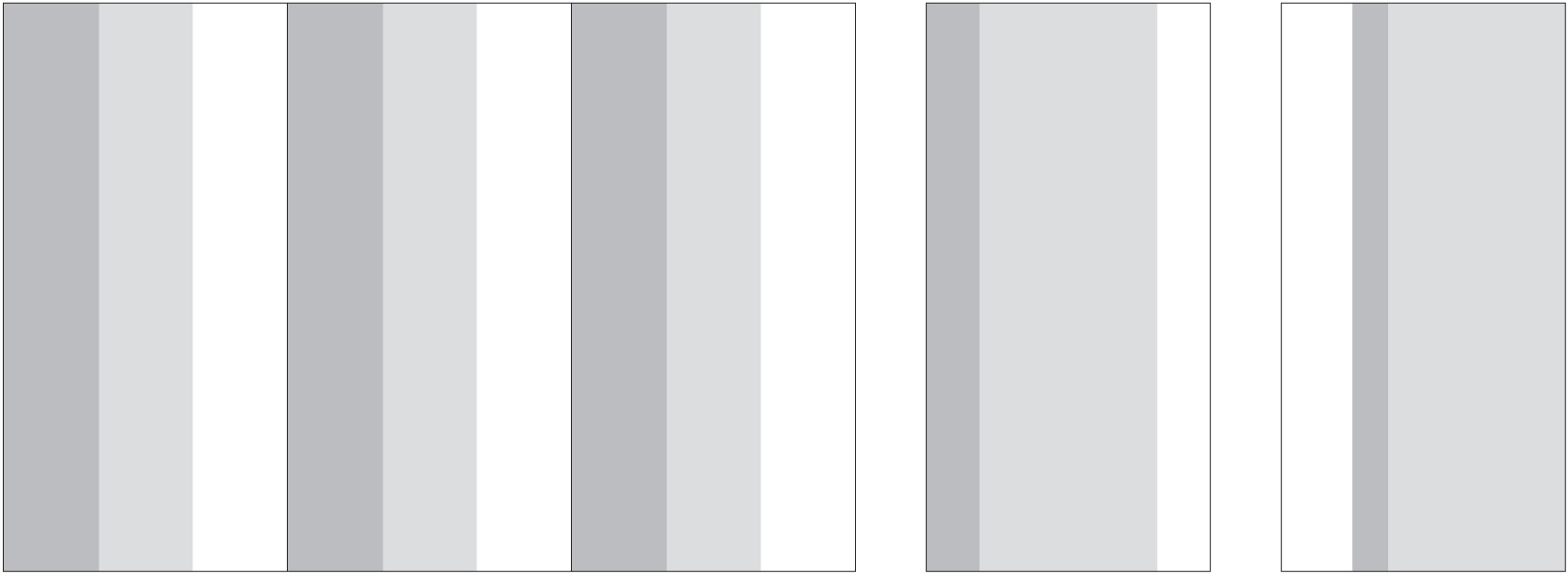 """Standard Layout (108"""" height by 3 full width panels) and Single Panel Variations"""