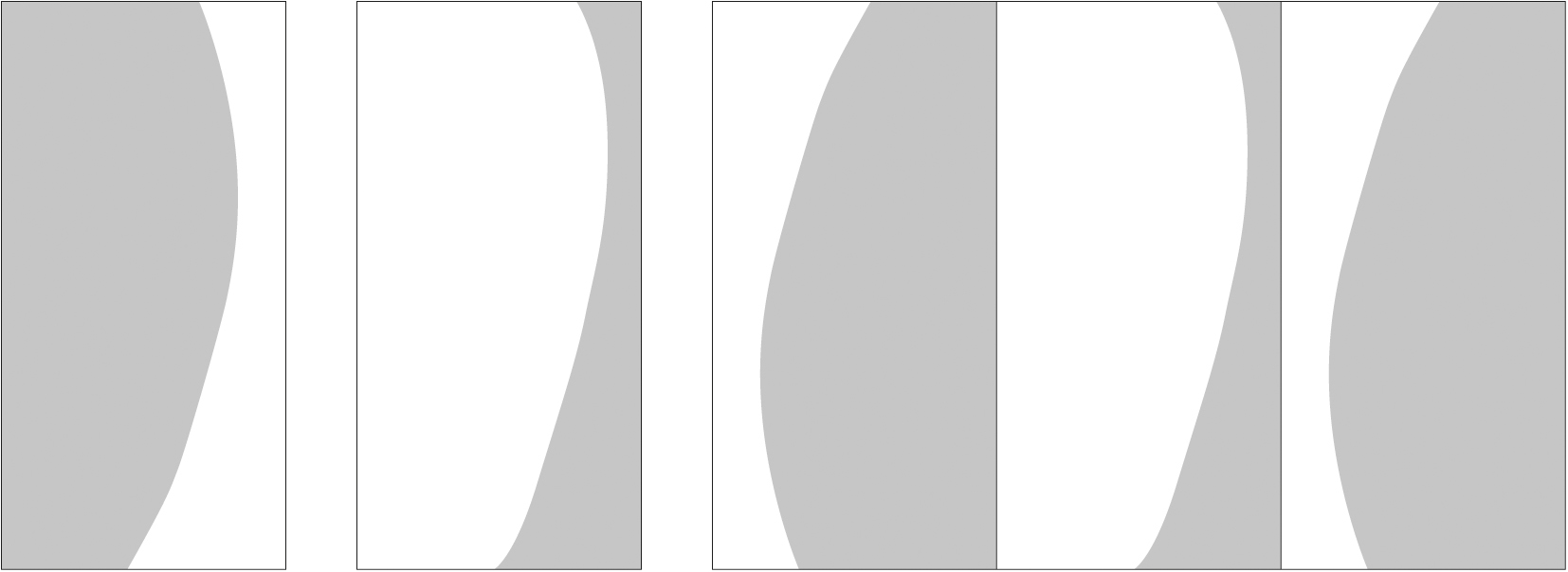 """Single Panel """"East"""" (108"""" height by full width), Single Panel """"West"""", and Multi-Panel Variation"""