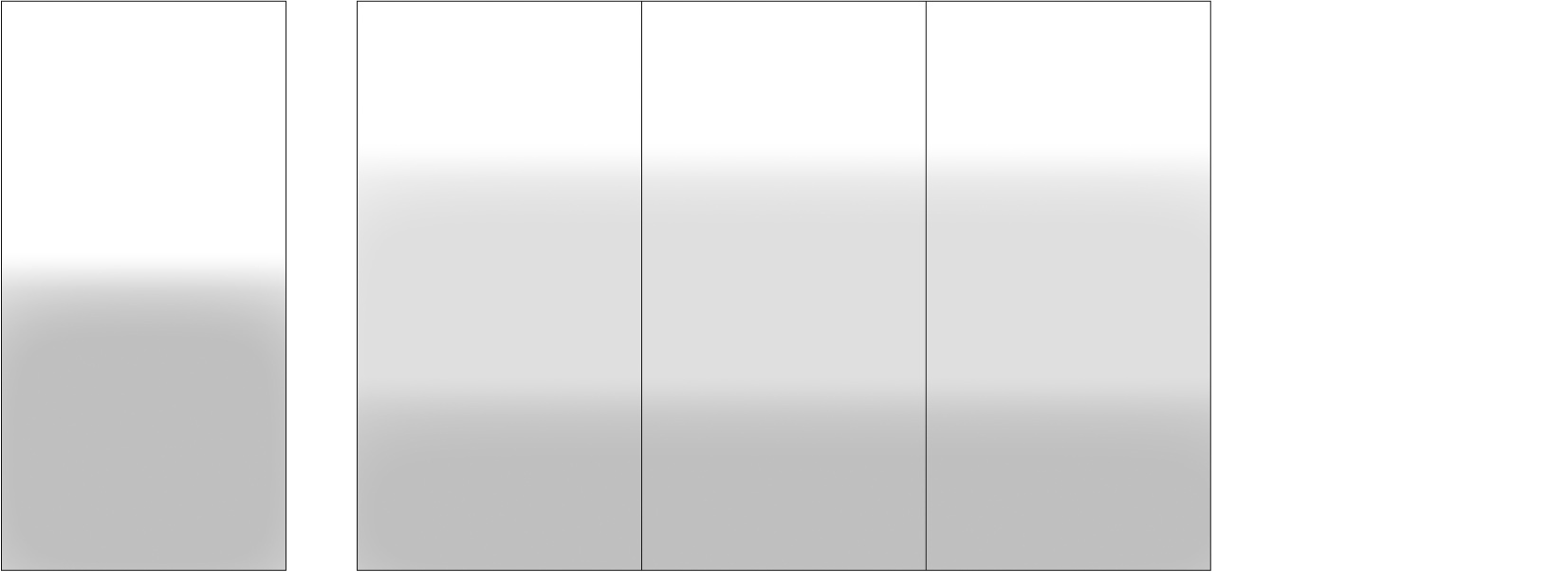 """Standard Layout (108"""" height by full width) and Multi-Panel Variation"""