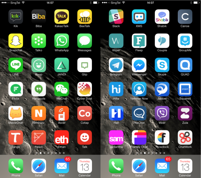 48 messaging apps, sorted by color