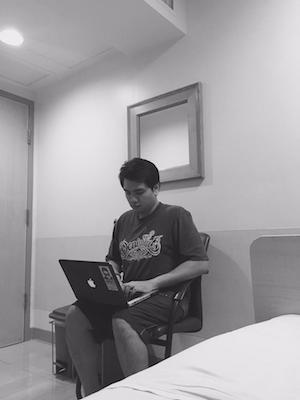 Gian, always passionate about his business... even while at the hospital