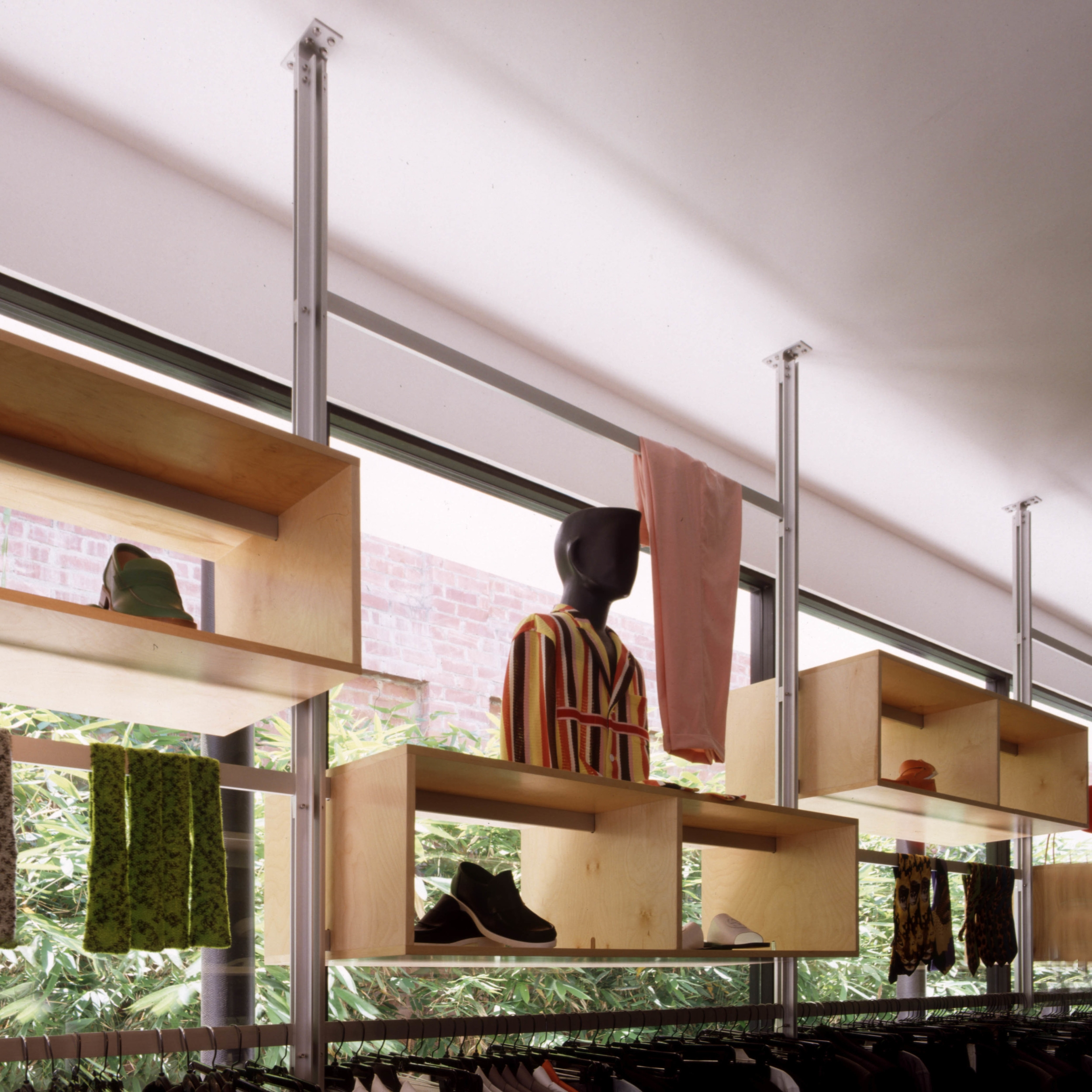 Modular Aluminum and Wood Display Fixtures at Bamboo Courtyard for Maxfield